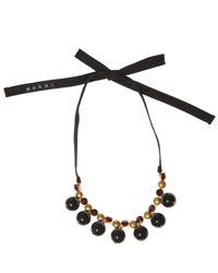 Marni | Black Strass Ball Short Tie Ribbon Necklace | Lyst