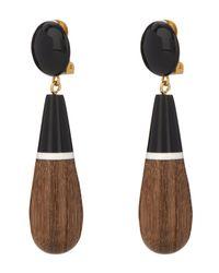 Marni   Black Wooden Drop Earrings   Lyst
