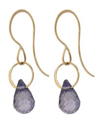 Melissa Joy Manning - Metallic Gold Single Iolite Drop Earrings - Lyst