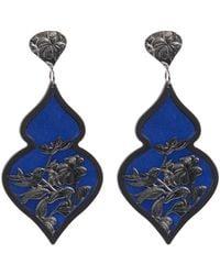 Anna E Alex - Blue Rhodium-plated Silver Velvet Ornate Drop Earrings - Lyst