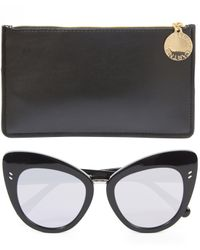 Stella McCartney - Black Retro Cat-eye Sunglasses - Lyst