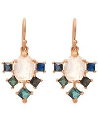 Nak Armstrong | Multicolor Rose Gold Multi Stone Drop Earrings | Lyst
