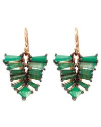 Nak Armstrong | Multicolor Rose Gold Emerald Drop Earrings | Lyst