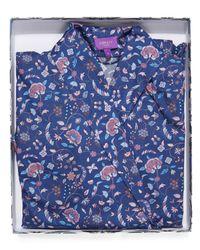 Liberty - Blue Garden Gates Long Cotton Robe - Lyst