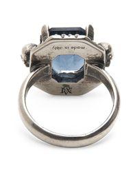 Alexander McQueen | Blue Swarovski Crystal Ring | Lyst