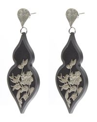Anna E Alex - Black Burnished Silver Giardino Velvet Earrings - Lyst