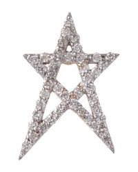 Kismet by Milka | Metallic Rose Gold White Diamond Doodle Star Stud Earring | Lyst