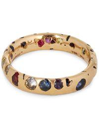 Polly Wales - Metallic Rose Gold Rainbow Sapphire Confetti Ring - Lyst