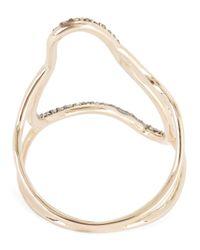 Kismet by Milka - Metallic Rose Gold Large Comet Champagne Diamond Ring - Lyst