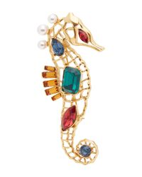 Oscar de la Renta - Multicolor Seahorse Crystal Brooch - Lyst