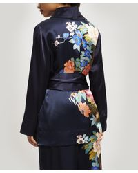 Liberty Blue Sakura Silk Charmeuse Wrap Jacket