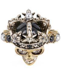 Alexander McQueen - Metallic Crystal Skull Queen Ring - Lyst