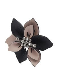 Marni | Multicolor Leather And Crystal Flower Brooch | Lyst