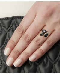 Suzanne Kalan - Metallic Rose Gold Pear Ring With Black Night Quartz And White Diamond - Lyst