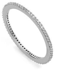 Monica Vinader | Metallic Silver Diamond Skinny Eternity Ring | Lyst