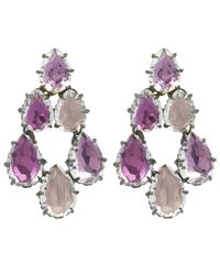 Larkspur & Hawk - Pink Silver Caterina White Quartz Swag Earrings - Lyst