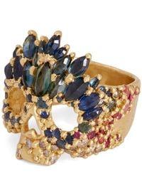 Polly Wales - Metallic Gold Abelarde Multi-stone Skull Ring - Lyst