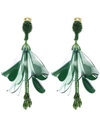 Oscar de la Renta - Green Impatiens Floral Tassel Clip-on Earrings - Lyst