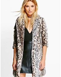 Boohoo | Brown Leopard Faux Fur Jacket | Lyst