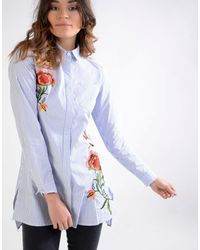 Glamorous | Blue Embroidered Shirt Dress | Lyst