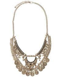 Pieces | Metallic Pendant Necklace | Lyst