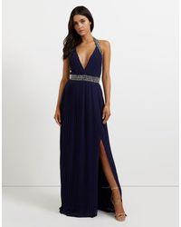 TFNC London | Blue Embellished Halter Pleated Maxi Dress | Lyst
