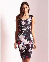 Lipsy | Black Print Sweetheart Bodycon Dress | Lyst