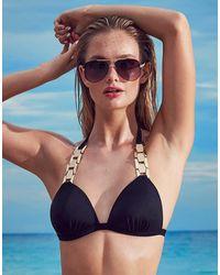 Lipsy | Black Chain Link Bikini Top | Lyst
