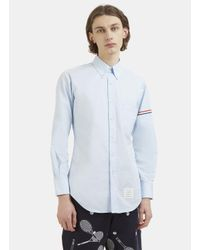 Thom Browne - Hairline Striped Web Armband Poplin Shirt In Blue for Men - Lyst