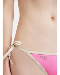Fendi - Contrast Triangle Bikini In Pink - Lyst