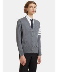 Thom Browne - Gray 4 Bar Striped Merino Wool Cardigan In Grey for Men - Lyst