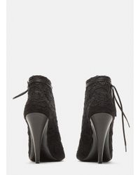 Saint Laurent - Pointed Toe Louise Lace-up Ankle Boots In Black - Lyst