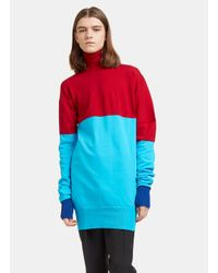 J.W. Anderson - Men's Bi-colour Ribbed Knit Roll Neck Sweater In Red And Blue for Men - Lyst