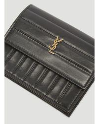 Saint Laurent Crinkled Victoire Wallet In Black