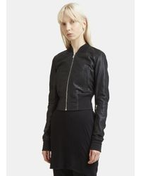 Rick Owens - Long Sleeve Rib Waist Leather Bomber Jacket In Black - Lyst