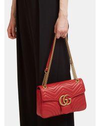Gucci | Red Shoulder Bag Marmont Matelassé | Lyst