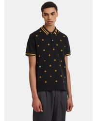 a96fb5e1387 Lyst - Gucci Embroidered Short Sleeve Bee Polo Shirt In Black in ...