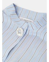 J.W. Anderson   Women's Striped Silk Shirt Dress In Blue   Lyst