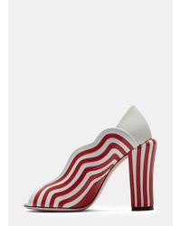 Fendi   Women's Candy Striped Heeled Sandals In White And Red   Lyst
