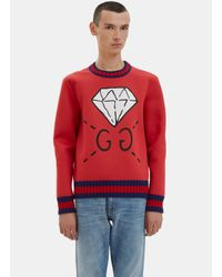 Gucci Men's Oversized Ghost® Screen- Printed Sweater In Red in Red ...