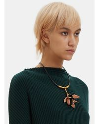 Marni - Women's Leather Cord Flower Pendant Necklace In Black - Lyst