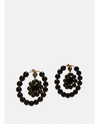 Marni | Women's Beaded Hoop Earrings In Black And Green | Lyst