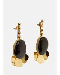 Marni - Women's Drop Petal Earrings In Black And Gold - Lyst