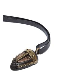 Valentino - Women's Leather Tie Wooden Mask Necklace In Black - Lyst