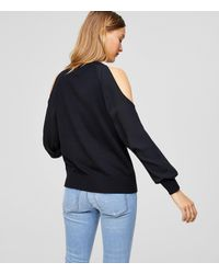LOFT - Black Cold Shoulder Mixed Media Sweater - Lyst