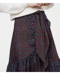 LOFT - Black Patchwork Ruffle Wrap Skirt - Lyst