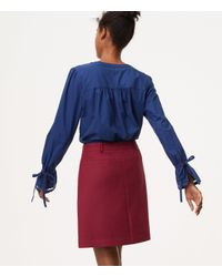 LOFT - Covered Button Front Skirt - Lyst