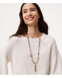 LOFT - Metallic Beaded Chain Tassel Necklace - Lyst