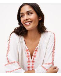 LOFT - White Embroidered Tassel Tie Neck Blouse - Lyst