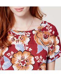 LOFT - Red Petite Floral Drapey Hi-lo Top - Lyst